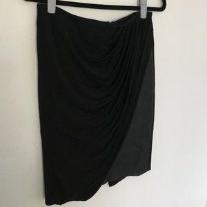 Karen Millen Jersey Draped Faux Leather Skirt